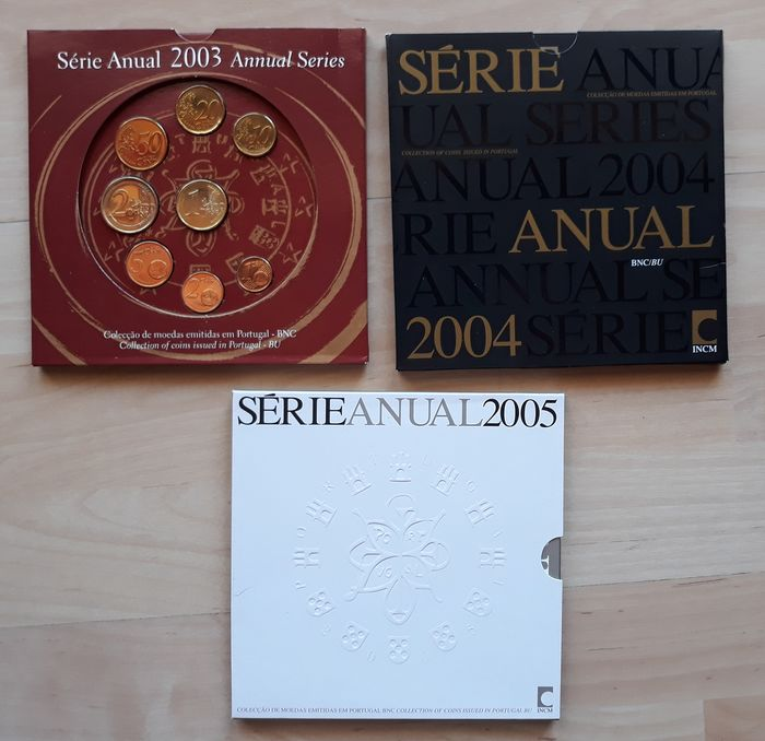 Portogallo - Yearsets 2003 + 2004 + 2005 (3 sets)  Euro