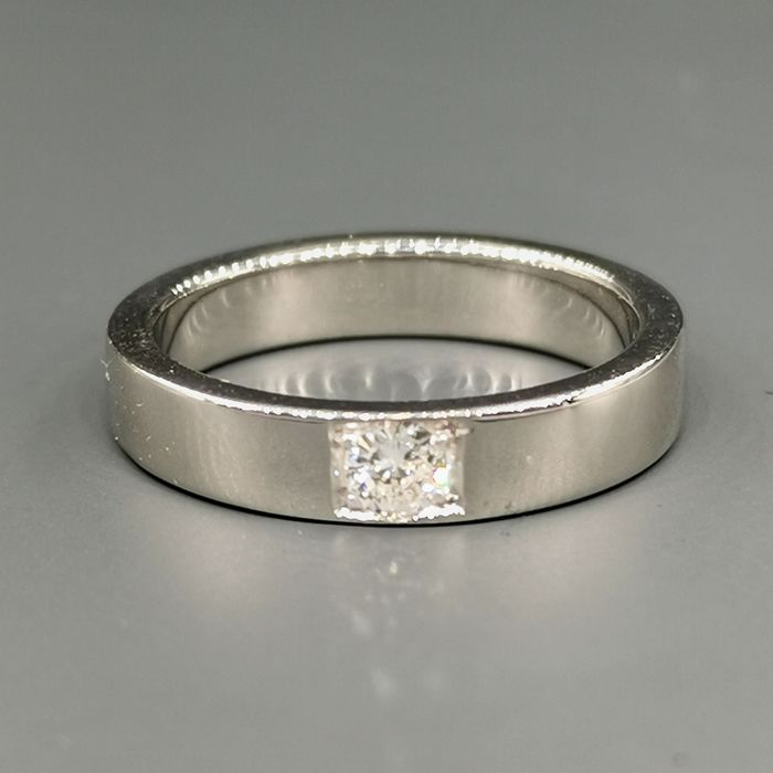 18 kt. White gold - Ring - 0.16 ct Diamond