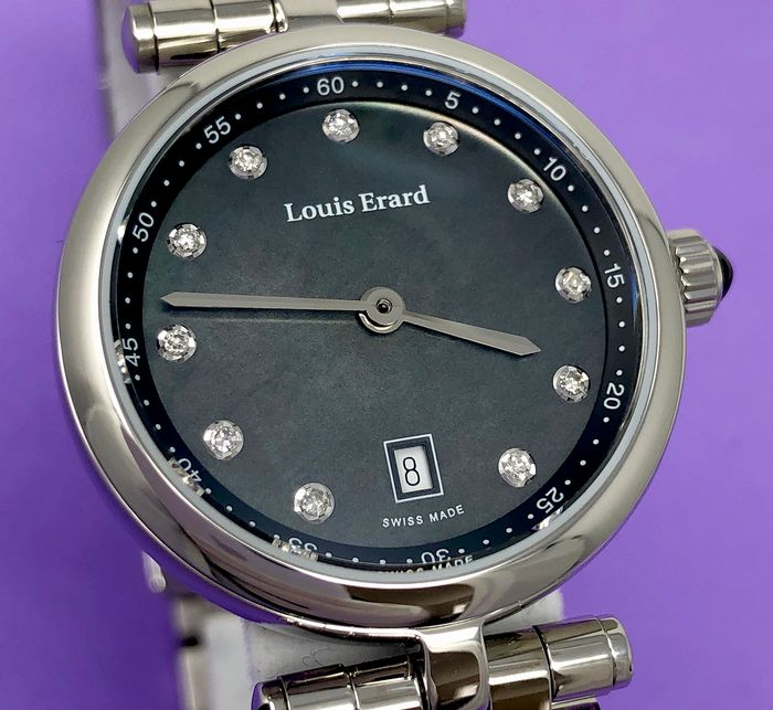 Louis Erard - 11 Diamonds Black Mother of Pearl Dial Cabochon Sapphire Romance Collection Swiss Made - 10800AA19.BMA23 - Damen - Brand New