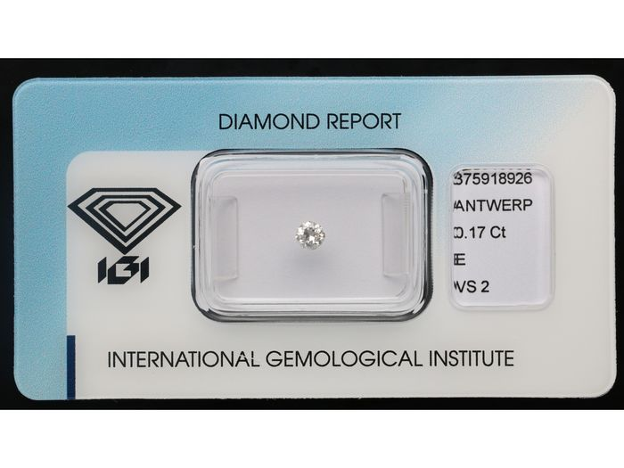 1 pcs Diamant - 0.17 ct - Brillant - E - VS2 *** No Reserve Price***