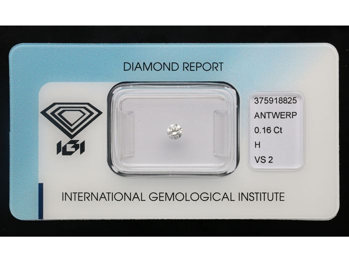 1 pcs Diamant - 0.16 ct - Brillant - H - VS2 *** No Reserve Price***