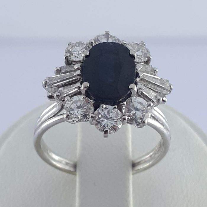 18 karat Hvitt gull - Vintage Sapphire & Diamond Ring - 2.20 ct Safir - Diamanter