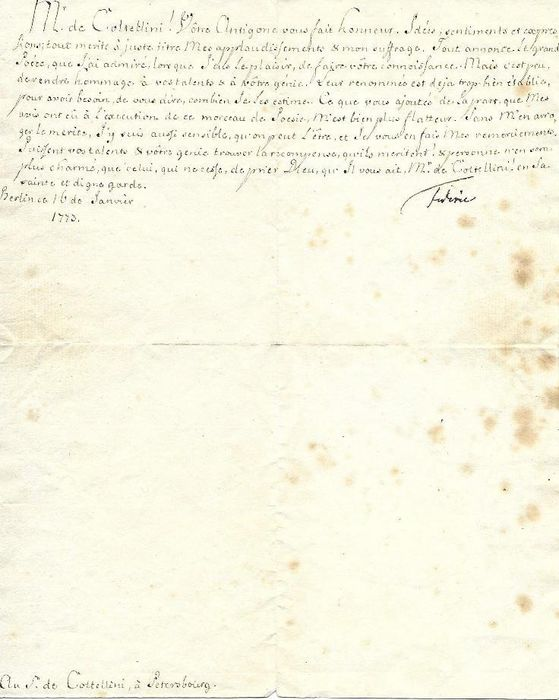 Fredéric II of Prussia - Autograph; Signed letter in French to the librettist Marco Coltellini (plus envelope) - 1773