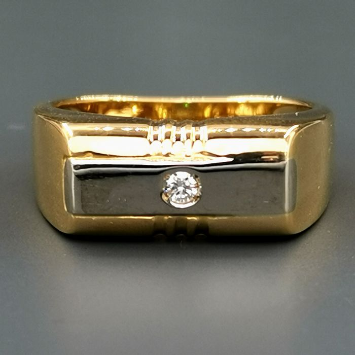 18 kt. White gold, Yellow gold - Ring - 0.07 ct Diamond