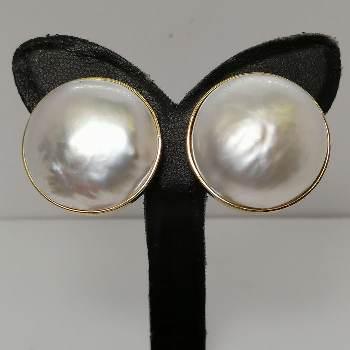 18 kt. Gold, Mabe pearls, ca. 24 mm - Earrings