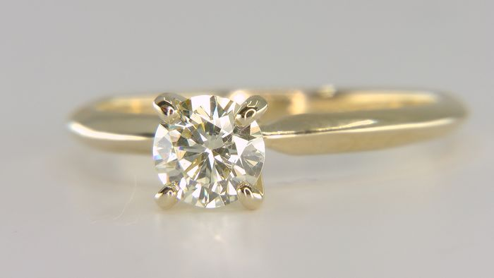 14 kt. Yellow gold - Ring - Clarity enhanced 0.62 ct Diamond - fancy light yellow VS1