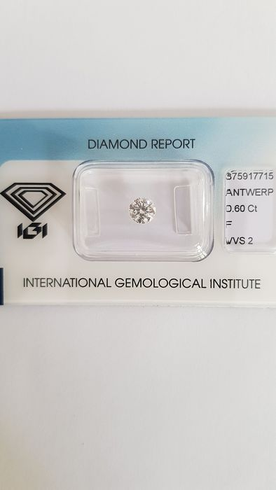 "1 pcs Diamond - 0.60 ct - Brilliant - F - VVS2 """"IDEAL CUT ROUND BRILLIANT"""""