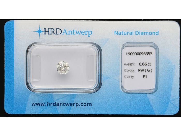 1 pcs Diamant - 0.66 ct - Brillant - G - I1 ***No Reserve***