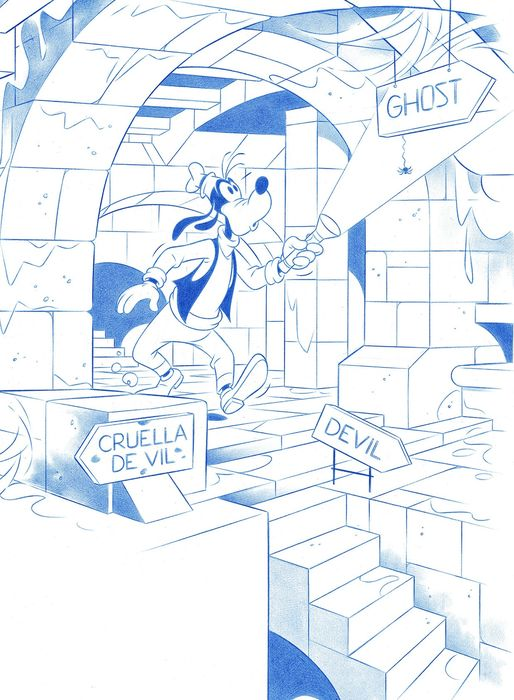 Goofy's Decision - Original Drawing - Jaume Esteve - Pencil Art