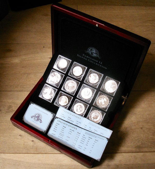 Wereld - Collection various coins 2007  - Fabulous 12 in Box with COA - Zilver