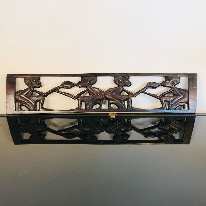 Elegant black ebony African relief with four people - wood carving - 54 cm - Wood