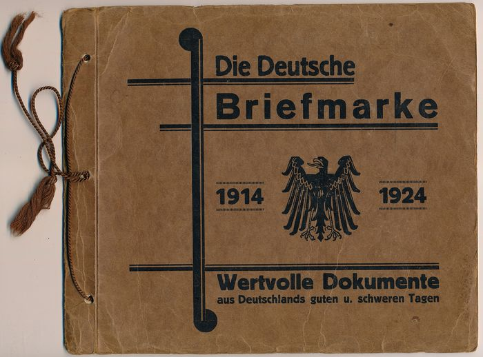 """Duitse Rijk 1914/1924 - Time document from the Empire and inflation period """"The German Postage Stamp, Valuable Documents"""""""