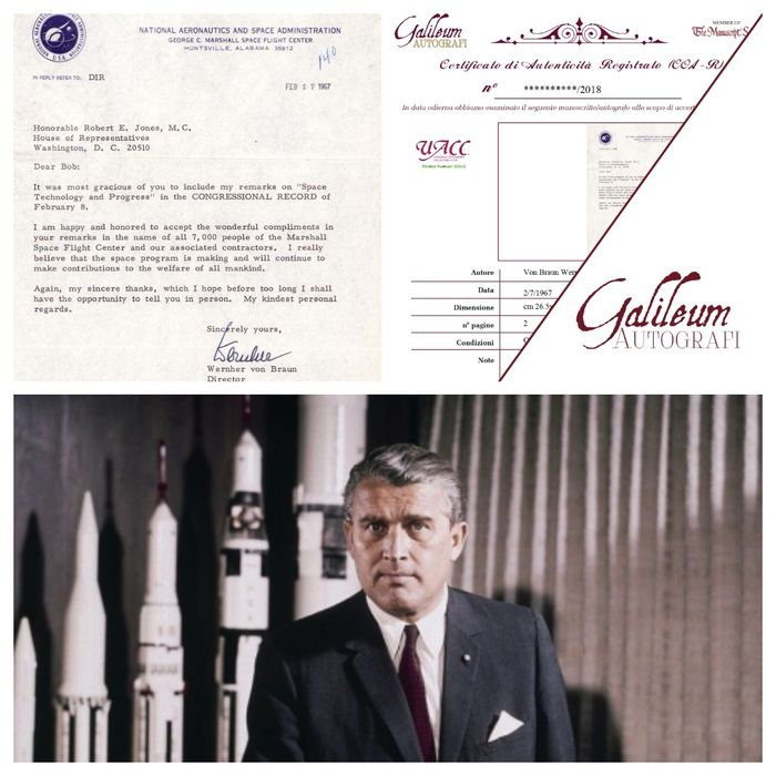 Baron Wernher Von Braun Director of NASA - Autograph; Letter National Aeronautics and Space Administration (NASA) from Alabama USA - 1967