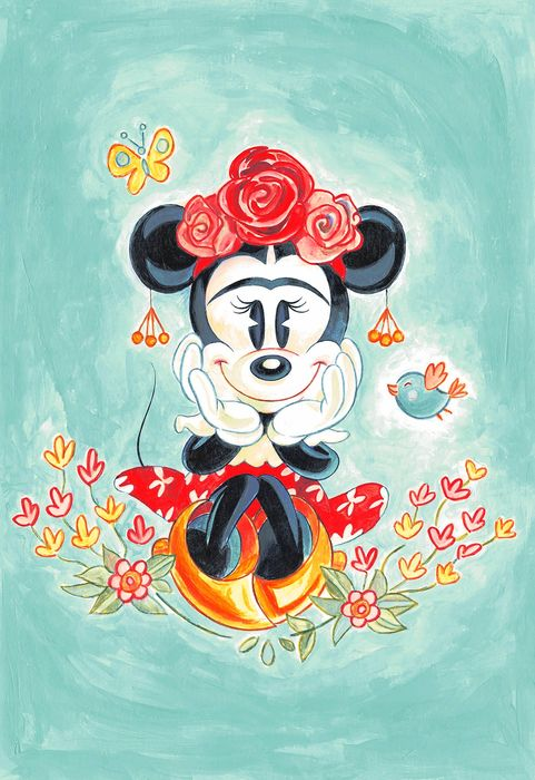 Minnie Mouse Inspired by Frida Kahlo - Unique Large Giclée - 62x43cm - Tony Fernandez Signed - Prima edizione