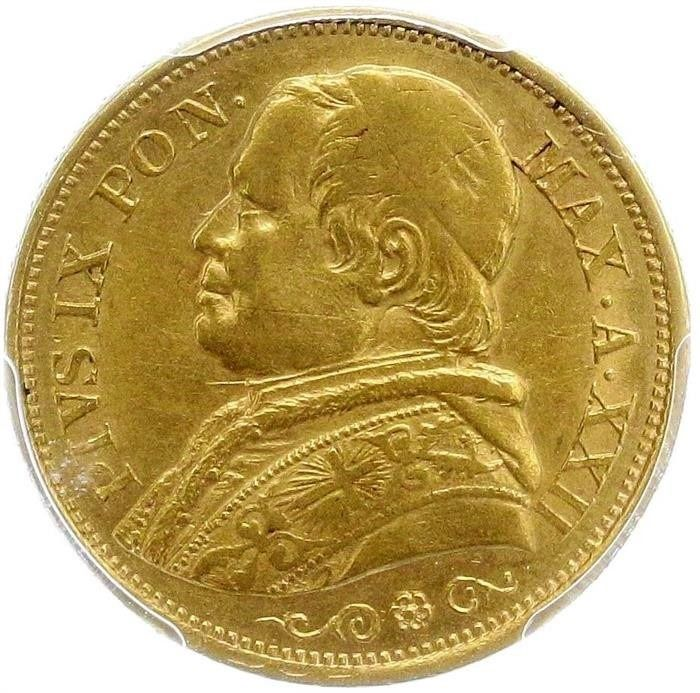 Italy - Papal States -  20 Lire 1867-XXIIR in NGC Slab - Gold