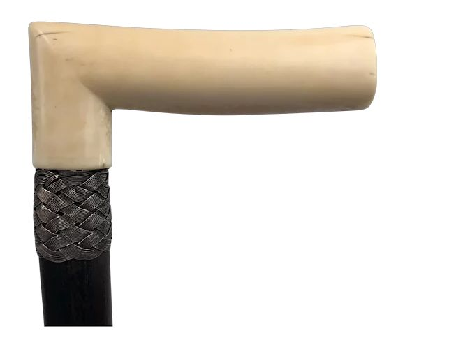 Walking stick with ivory handle and braided strap - Ivory - Ca. 1880