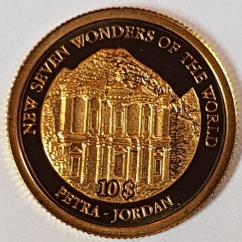 "Isole Salomone - 10 Dollar 2007 'Petra - Jordan' from Series ""New Seven Wonders Of The World"" - Oro"