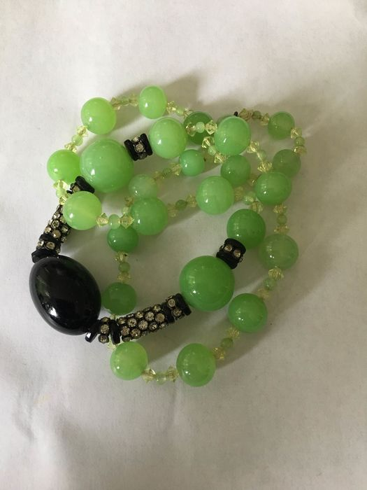 jade colored glass and onyx colored glass - Necklace