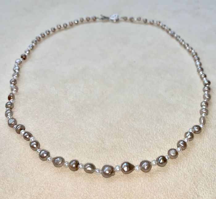 14 kt. Natural pearls, White gold, Certified Natural pearls & seed pearls - Necklace