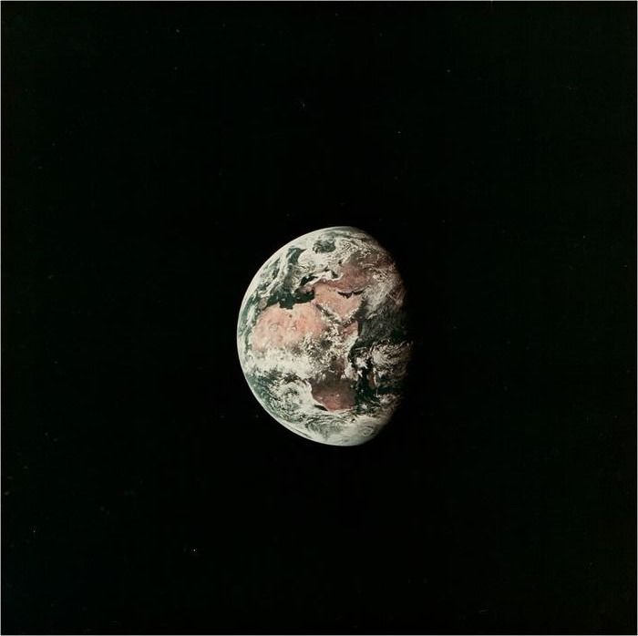 NASA - AS11-36-5355 - View of the Earth from the Apollo 11 spacecraft, July 17, 1969