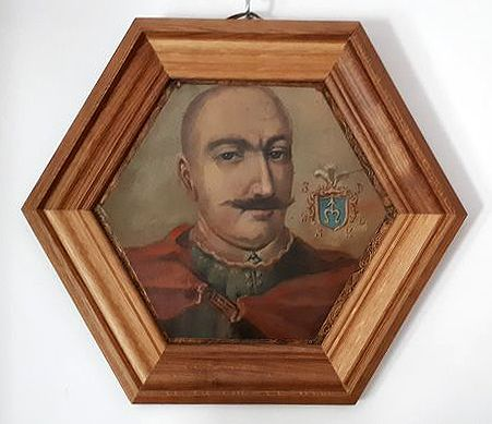 Coffin Portrait of a Polish Noble man with the Odrowąż coat of arms  - Schilderij, portret - Koper - Tweede helft 17e eeuw