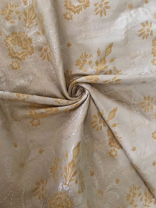 3 meters x 2.90 damask fabric San Leucio white ivory with gold decorations - Cotton - unknown