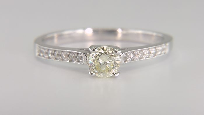 No Reserve Price!  - 14 carats Or blanc - Bague - Pureté améliorée 0.40 ct Diamant - Diamants, VS2!
