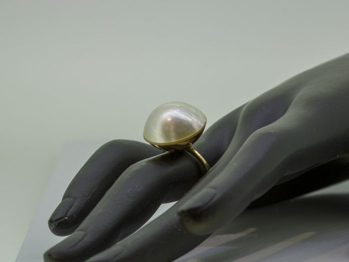 18 kt. Mabe pearl, Yellow gold, 16.92 mm - Ring pearl
