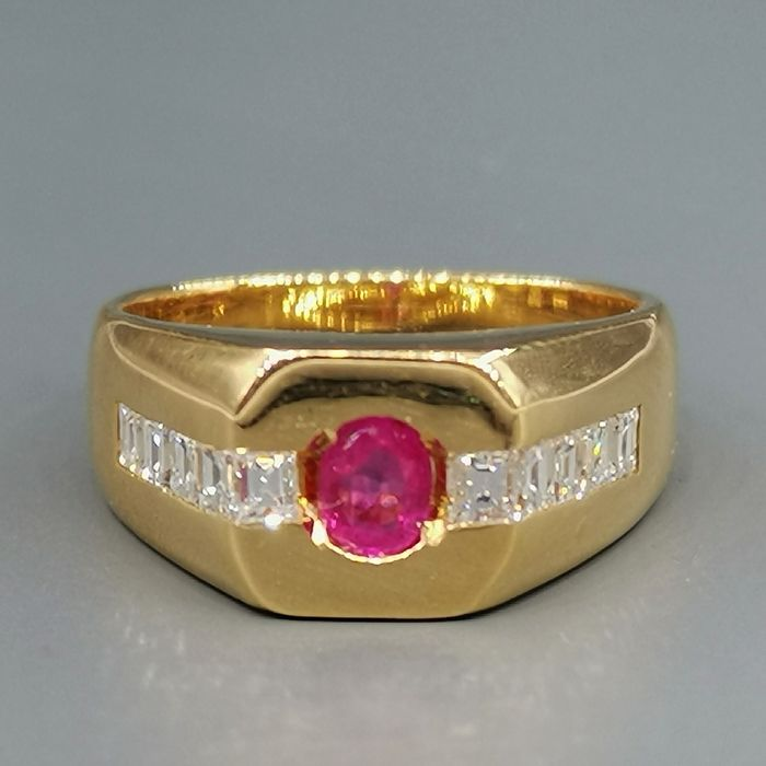 18 kt. Yellow gold - Ring - 0.15 ct Diamond - Ruby