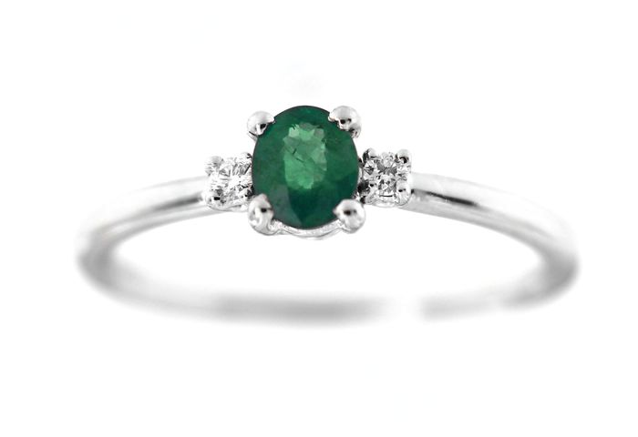 ITITOLI - 18 kt. White gold - Ring - 0.25 ct Emerald - Diamond