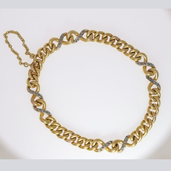 18 kt. Yellow gold - Bracelet, French Victorian Diamond Chain design - Anno 1890 - Diamond