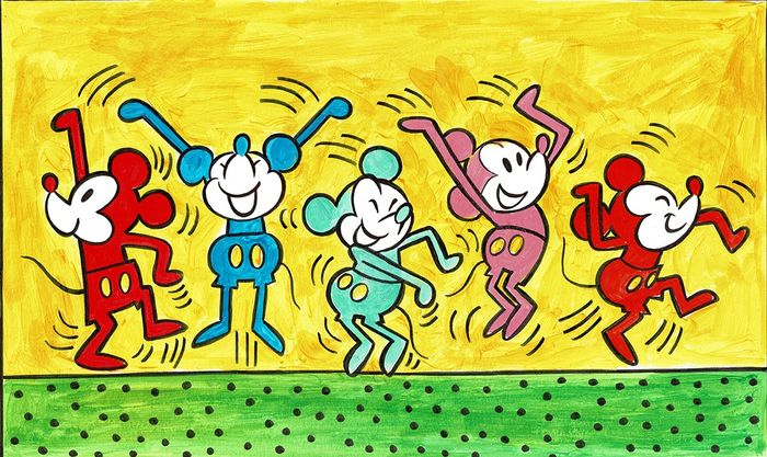 Mickey Mouse inspired by Keith Haring - Large Painting - Tony Fernandez - Art acrylique