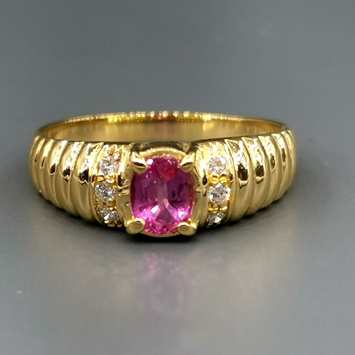 18 carats Or jaune - Bague - 0.30 ct Rubis - Diamants