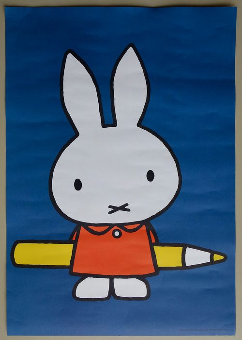 Dick Bruna - Mercis - Plakat - Nijntje met potlood