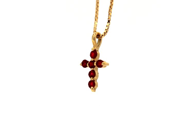 ITITOLI - 18 kt. Yellow gold - Necklace - 0.18 ct Ruby