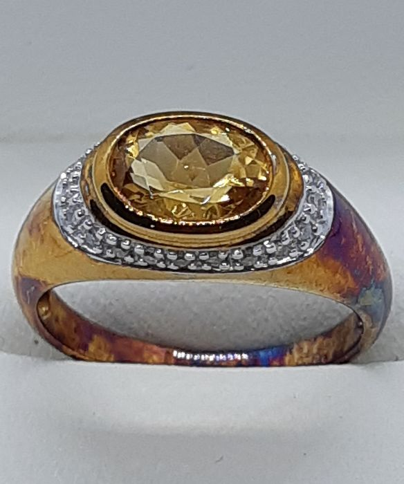 Or jaune - Bague - 0.72 ct Citrine - Diamant