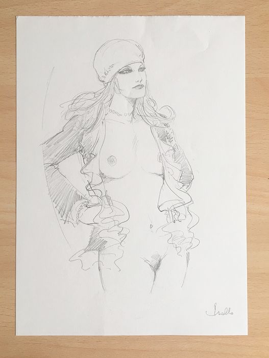 """Leone Frollo - orignal sketch """"Pin Up"""" - Loose page"""