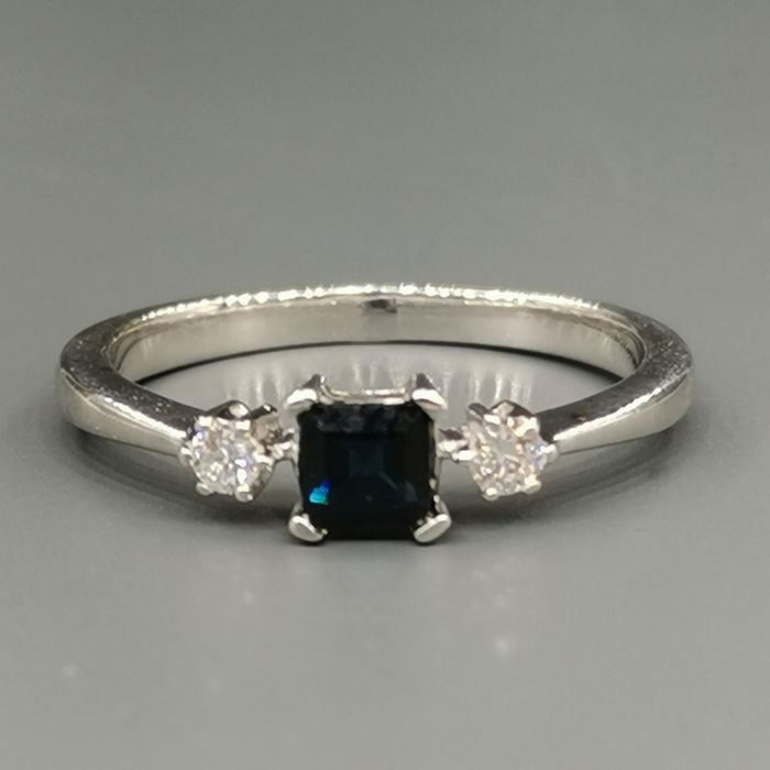 18 carats Or blanc - Bague - 0.14 ct Diamant