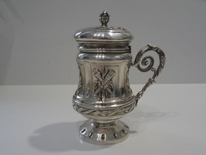 Beautiful solid silver mustard maker (1) - .950 silver - France - mid 19th century