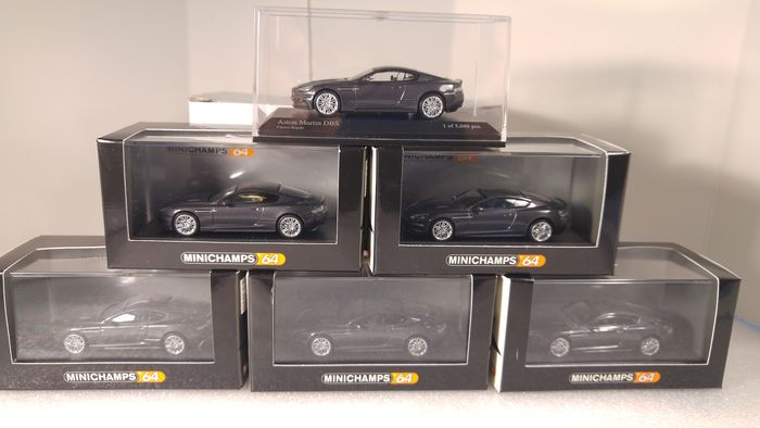 MiniChamps - 1:64 - 6 x Aston Martin DBS Casino Royale 2006  Grey-metallic - Limited Edition 1 or 5,040 pcs