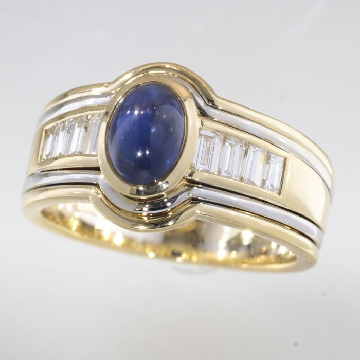 18 carats Or - Bague, Design vintage fort Saphir - Diamants, PRIX SANS RESERVE
