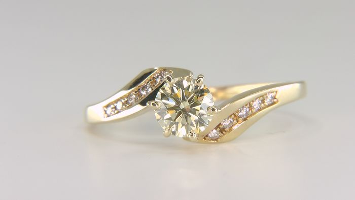 14 kt. Yellow gold - Ring - Clarity enhanced 0.90 ct Diamond - Diamonds