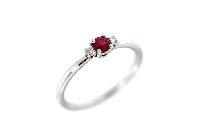ITITOLI - 18 kt. White gold - Ring - 0.20 ct Ruby - Diamond