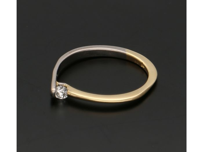 14 quilates Bicolor, Oro amarillo, Oro blanco - Anillo - 0.09 ct Diamante