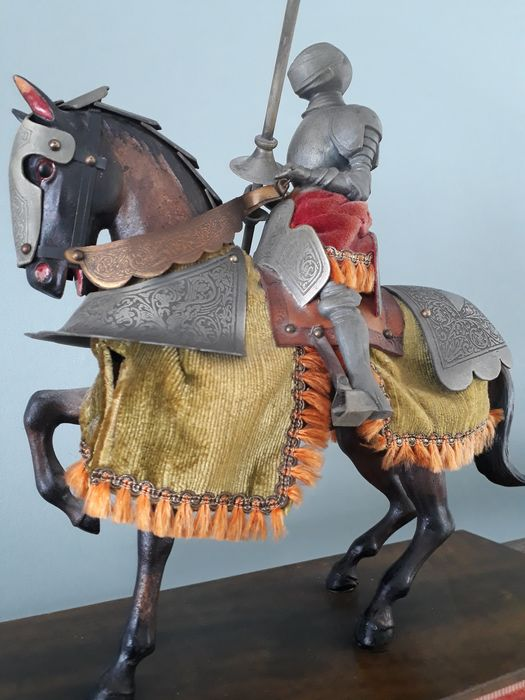 Knight in full plate armour on horseback - metal, wood