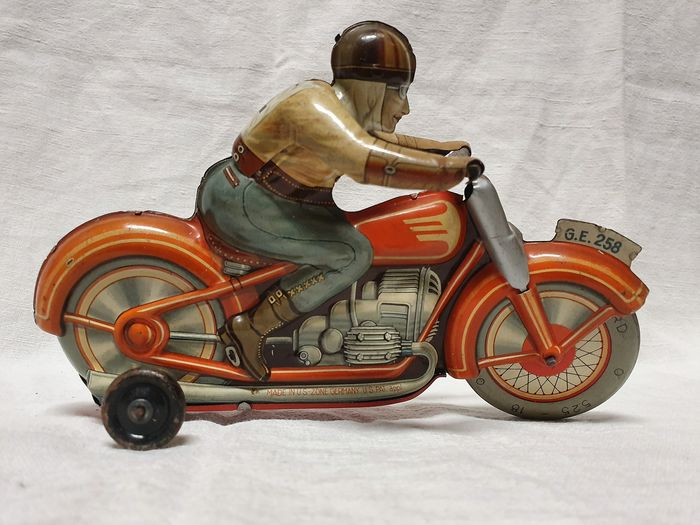 technofix - motocicletta in latta - GE258 - Wind-up motorcycle n° 4 - 1950-1959 - Germany