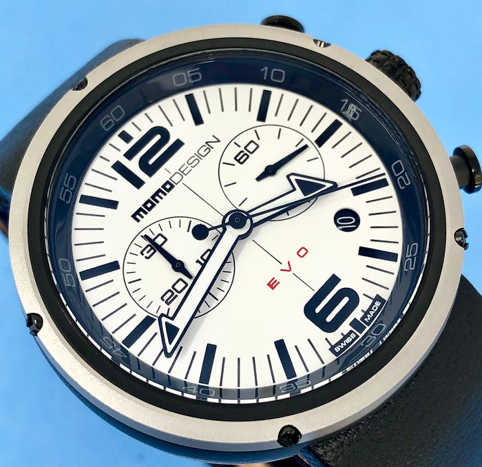 MomoDesign - Chronograph Watch EVO White Dial Swiss Made - MD1012BS-22 - Men - Brand New