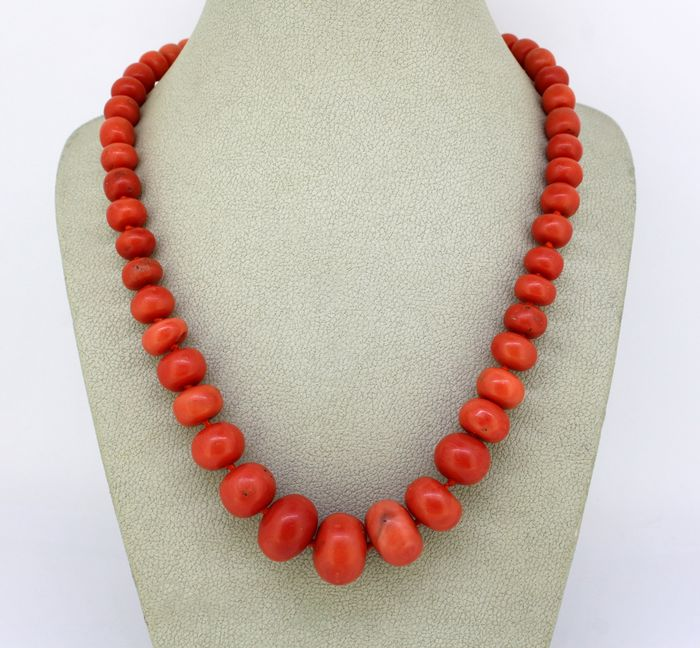 Coral bead - Necklace Coral - Diamonds