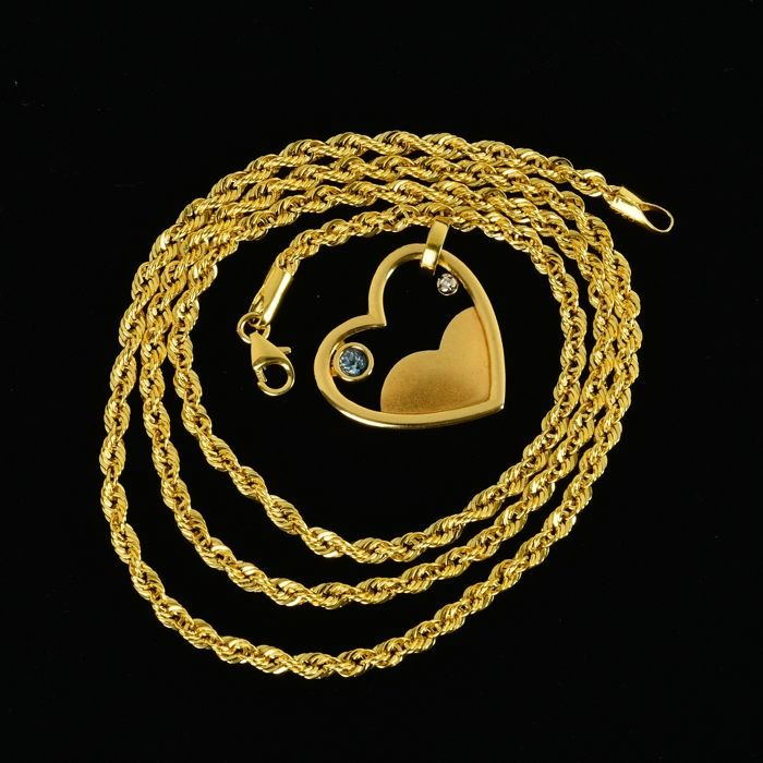 18 kt. Yellow gold - Necklace with pendant - 0.11 ct Topaz - Diamond