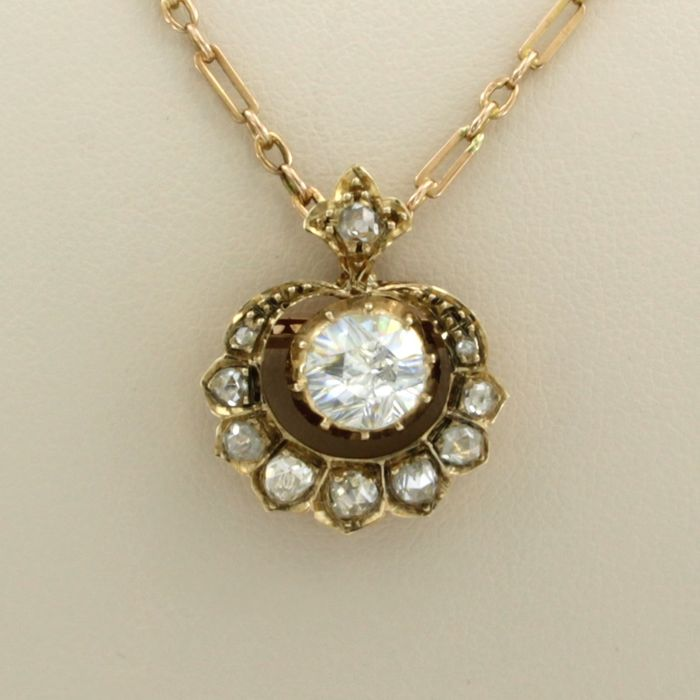 14 kt. Pink gold - Necklace with pendant - 1.50 ct Diamond